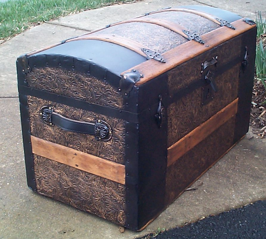 restored dome top antique trunk for sale 614