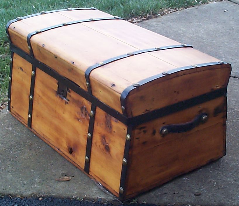restored dome top antique trunk for sale 615