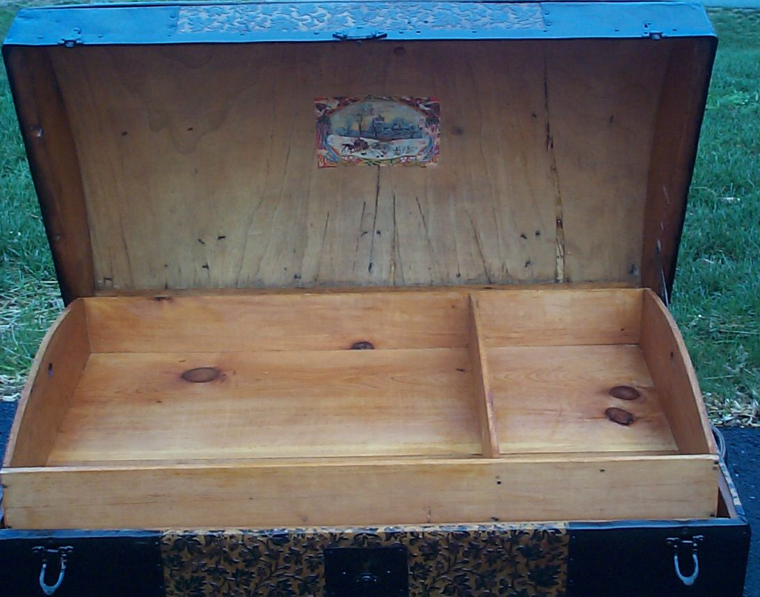 restored dome top antique trunk for sale 617