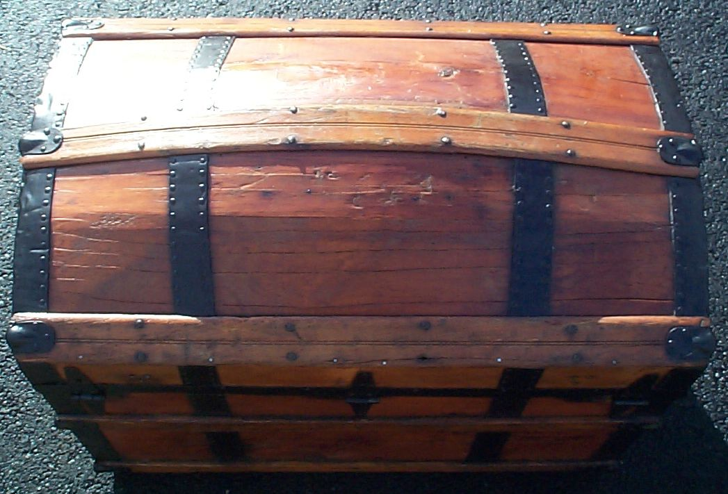restored dome top antique trunk for sale 618
