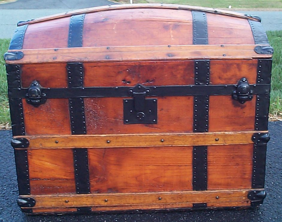 restored all wood dome top antique trunk for sale 618