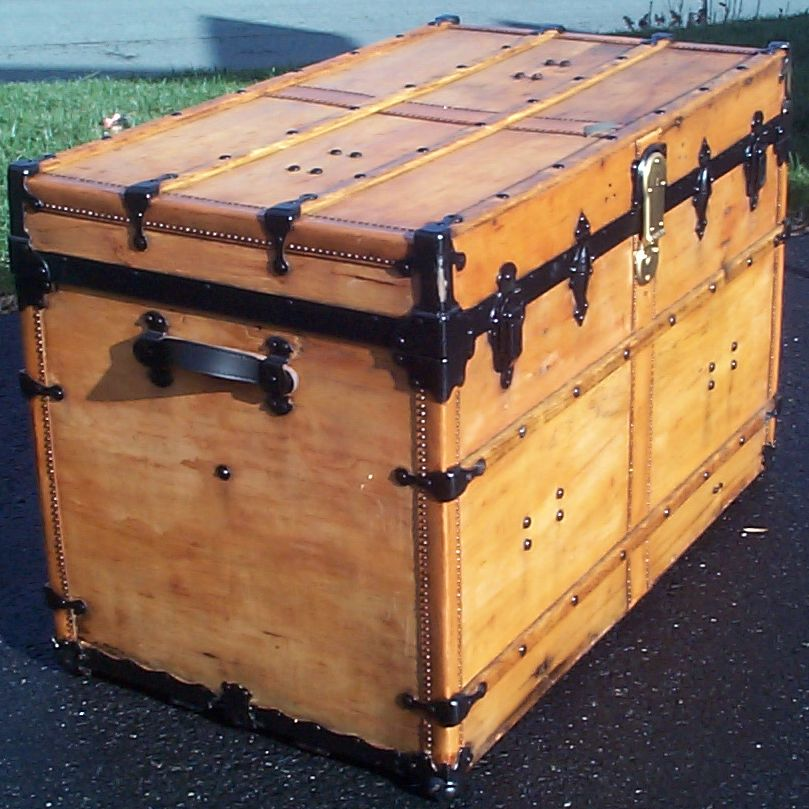 restored flat top antique trunk for sale 619