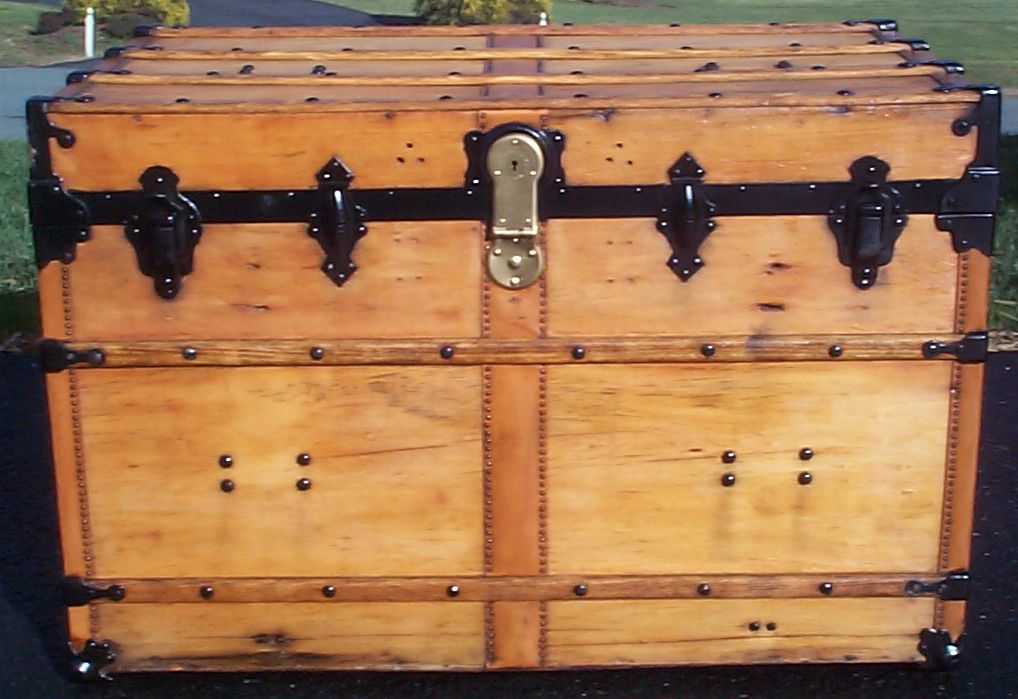 restored all wood flat top antique trunk for sale 619