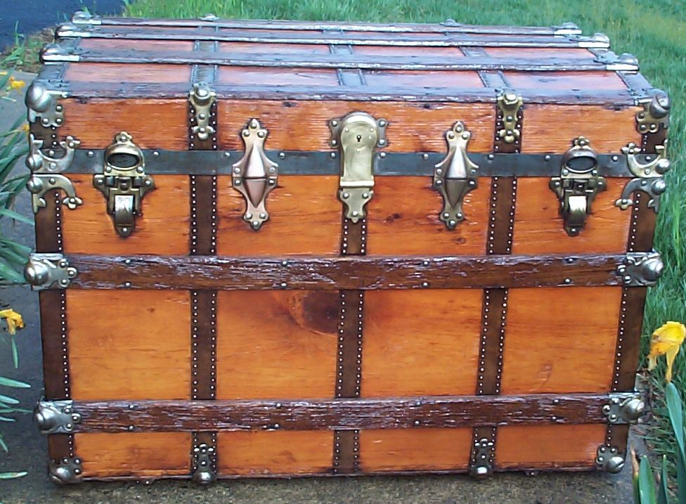 restored all wood roll top antique trunk for sale 620