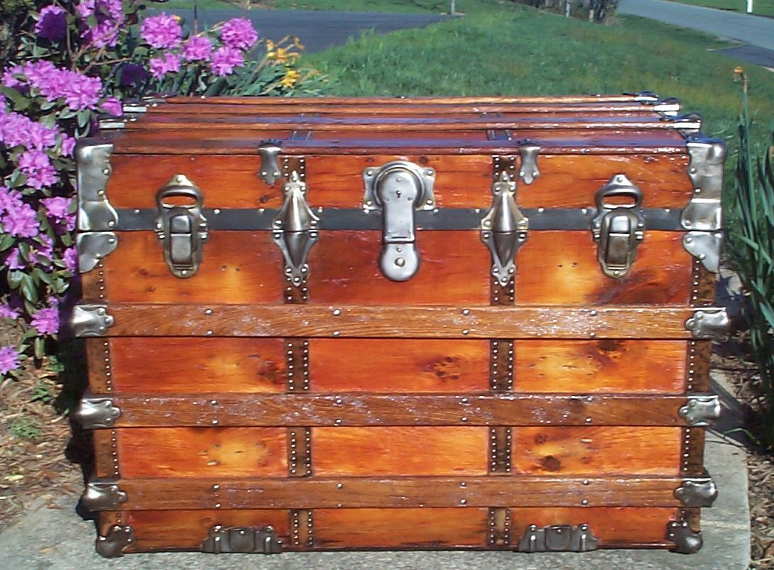 restored all wood roll top antique trunk for sale 621