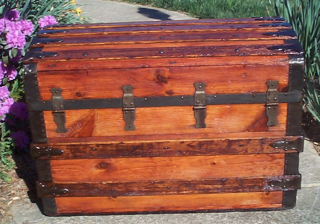 restored roll top antique trunk for sale 622