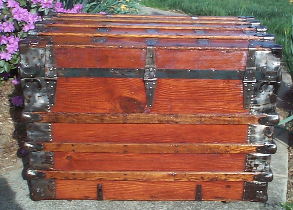 restored roll top antique trunk for sale 623