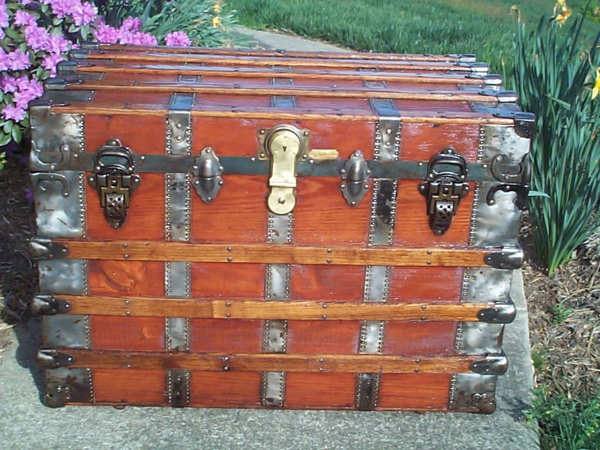 restored all wood roll top antique trunk for sale 623