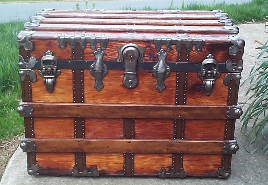 restored all wood flat top antique trunk for sale 624