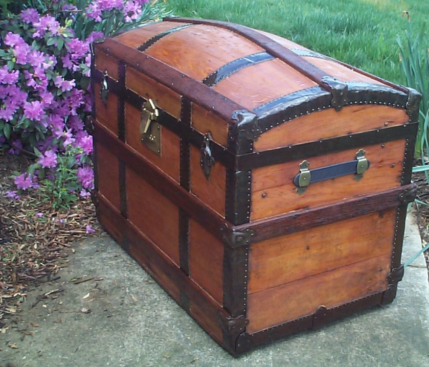restored humpback dome top antique trunk for sale 625