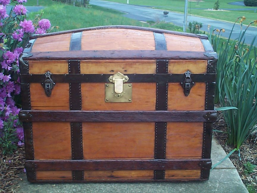 restored all wood humpback dome top antique trunk for sale 625