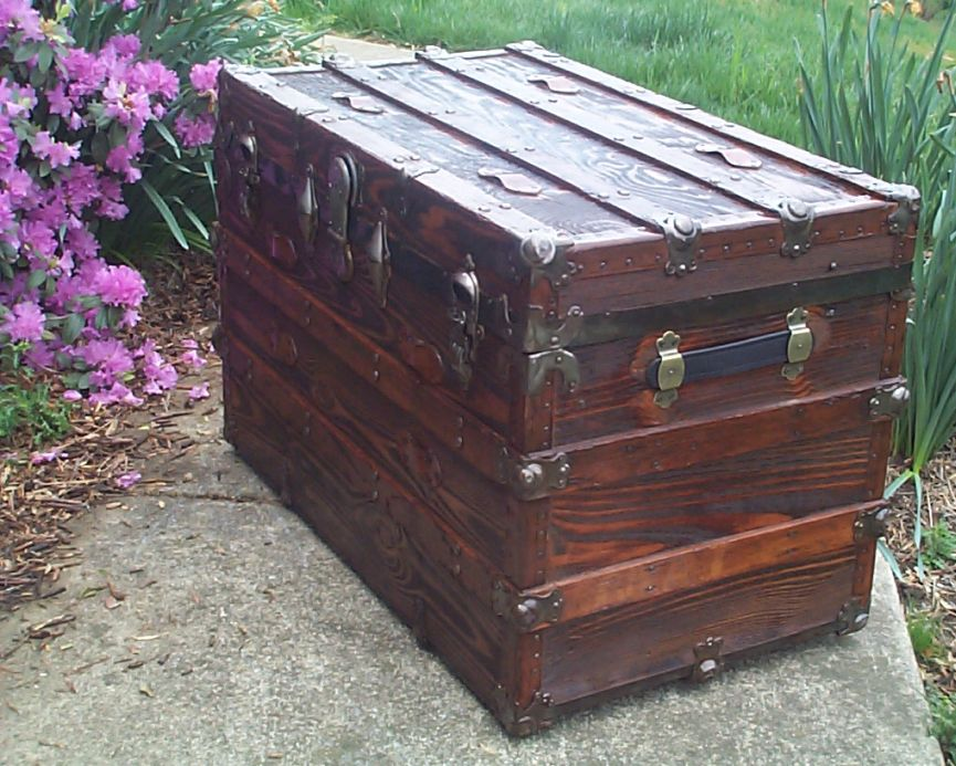 restored flat top antique trunk for sale 626