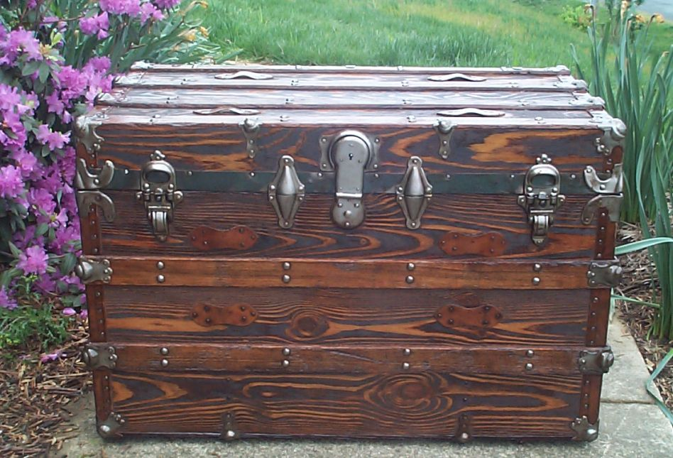 restored all wood flat top antique trunk for sale 626