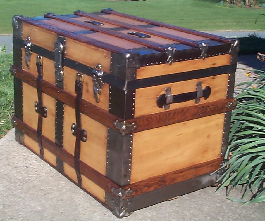 restored flat top antique trunk for sale 627