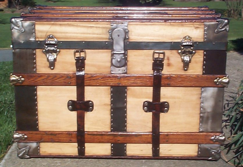 restored all wood flat top antique trunk for sale 627