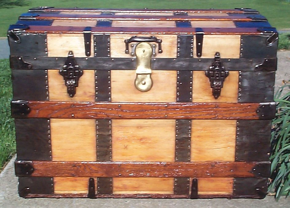 restored all wood roll top antique trunk for sale 628