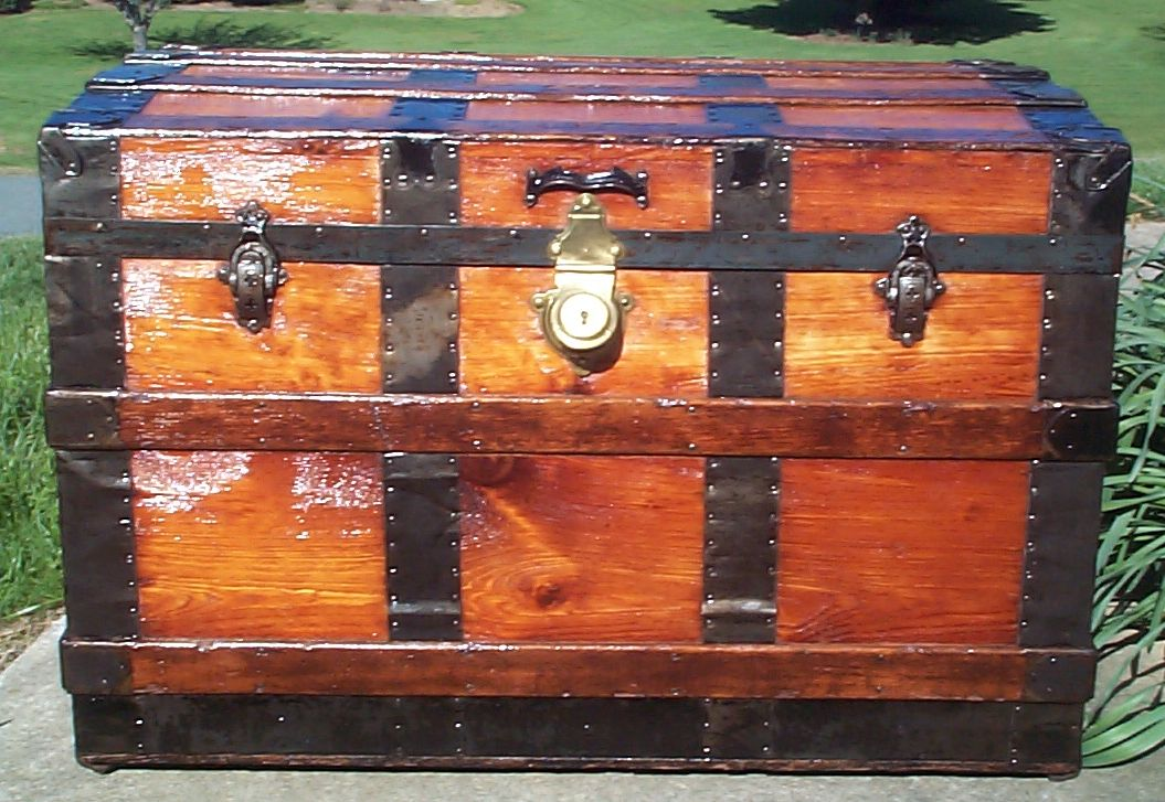 restored all wood roll top antique trunk for sale 629