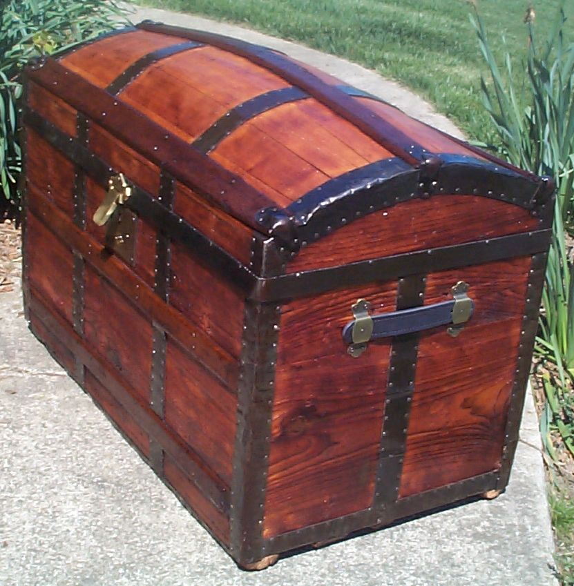 restored dome top antique trunk for sale 630