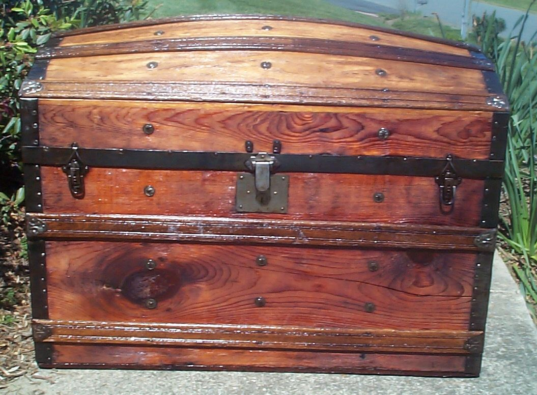 restored all wood dome top antique trunk for sale 631