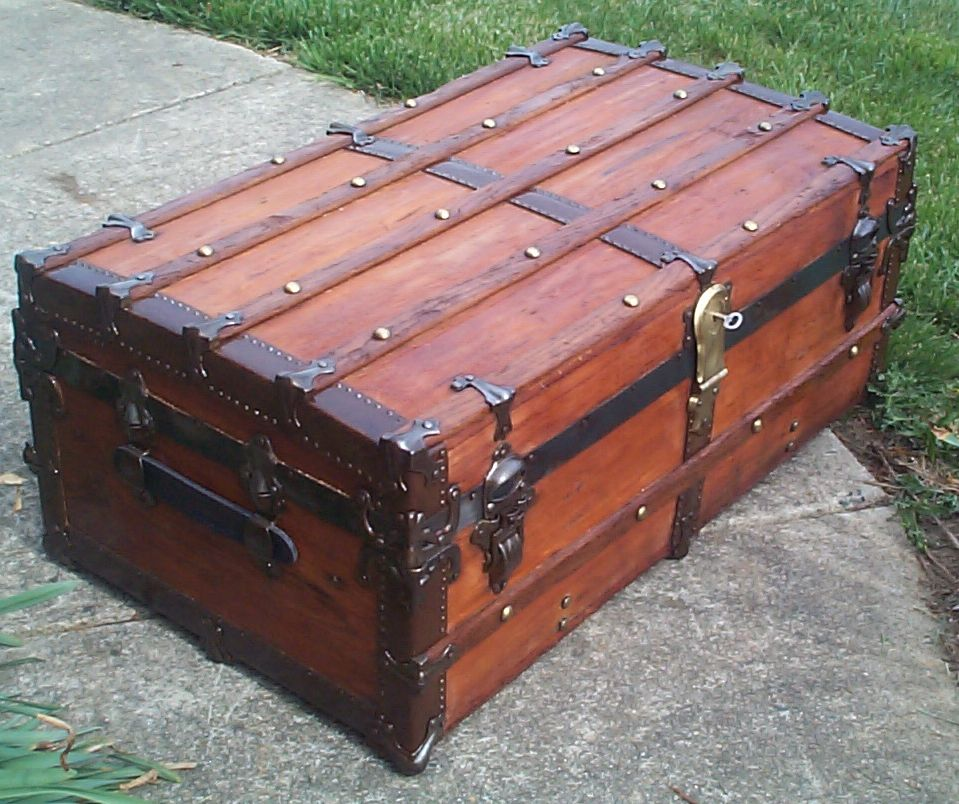restored low profile antique trunk for sale 632