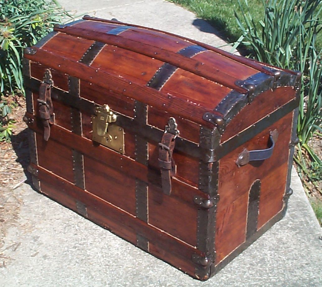 restored dome top or humpback antique trunk for sale 633