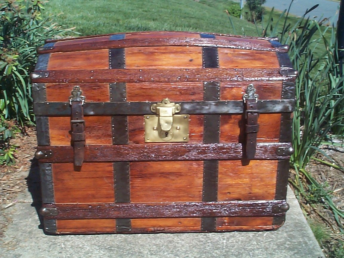 restored all wood humpback or dome top antique trunk for sale 633