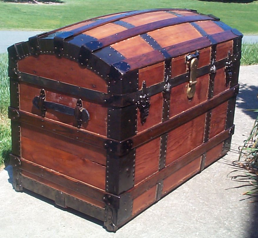 restored dome top or humpback antique trunk for sale 634