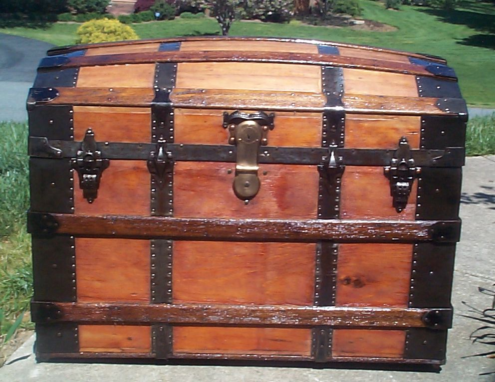 restored all wood humpback or dome top antique trunk for sale 634