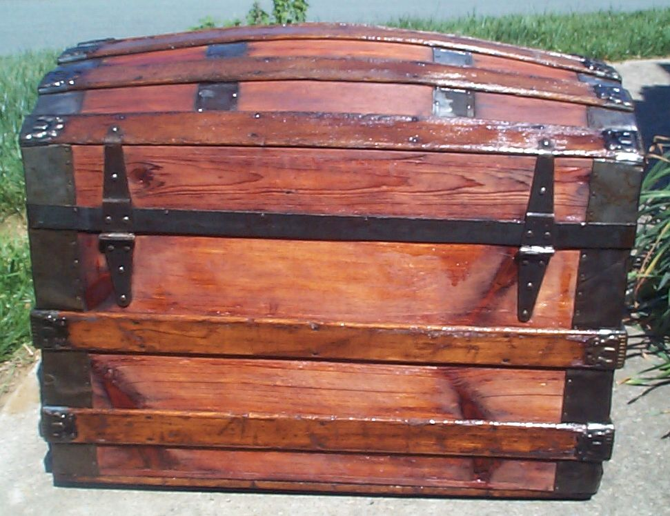 restored dome top or humpback antique trunk for sale 635