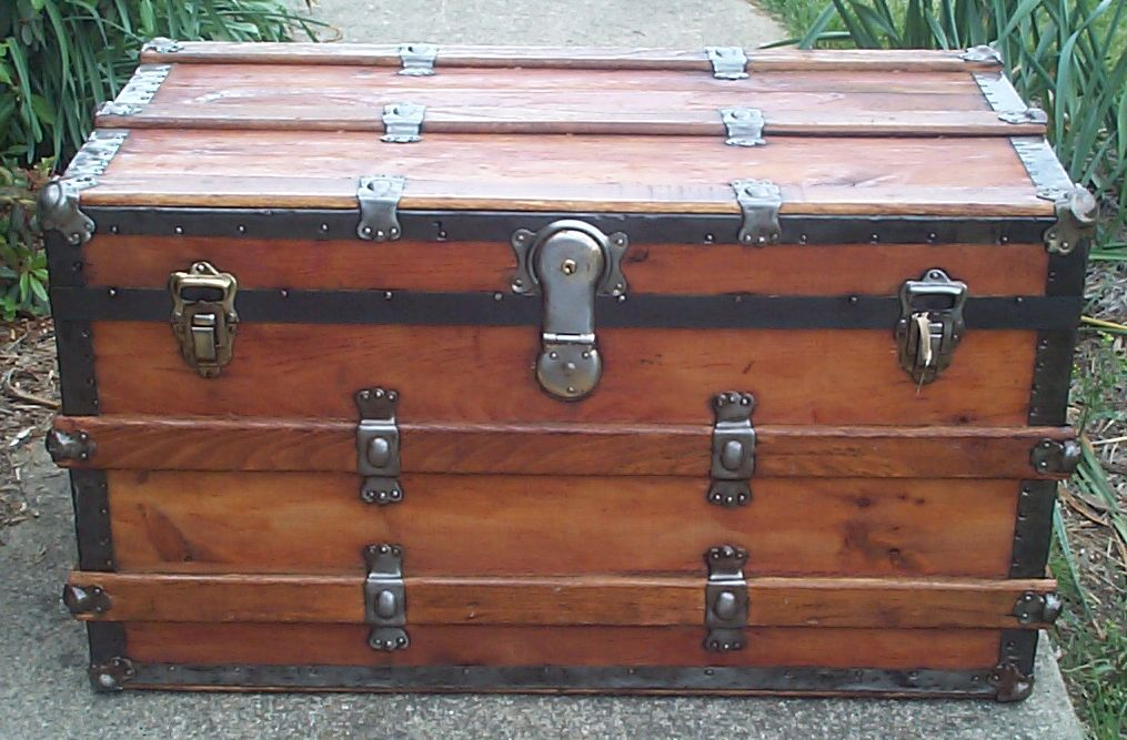 restored all wood flat top antique steamer trunk for sale 636