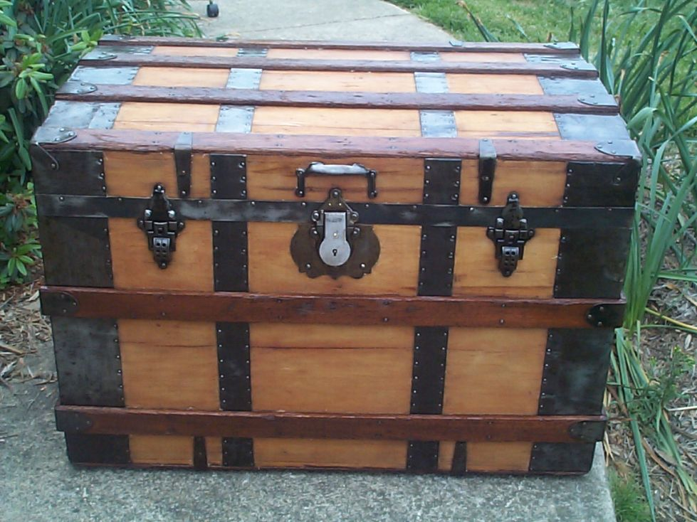 restored all wood roll top antique steamer trunk for sale 637