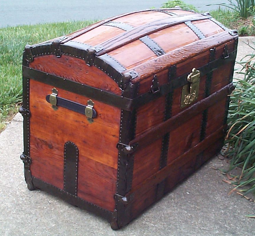 restored humpback dome top antique steamer trunk for sale 638
