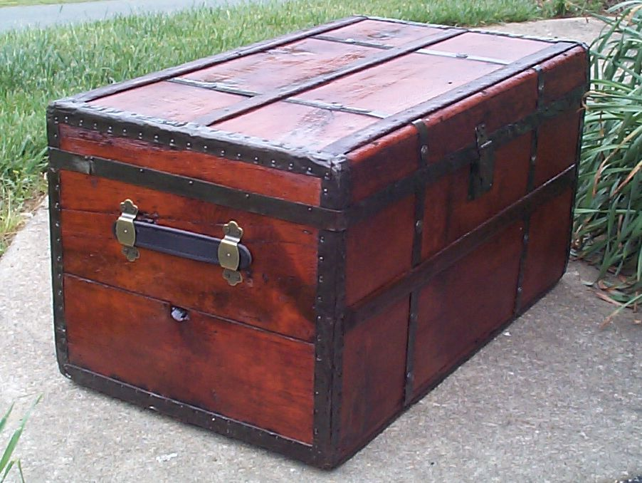 restored victorian flat top antique trunk for sale 639