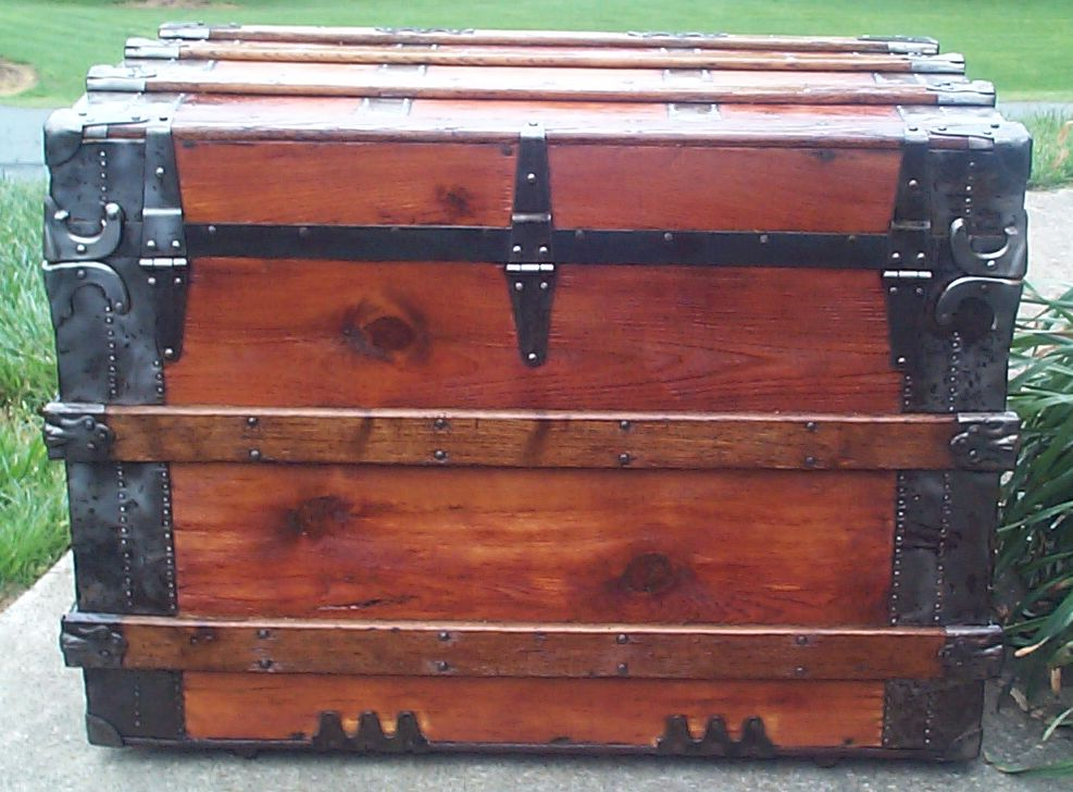 restored victorian flat top antique trunk for sale 640