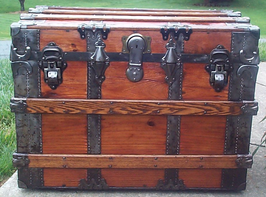 restored all wood flat top antique steamer trunk for sale 640