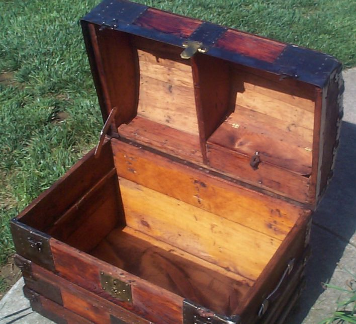 restored victorian humpback or dome top antique trunk for sale 641