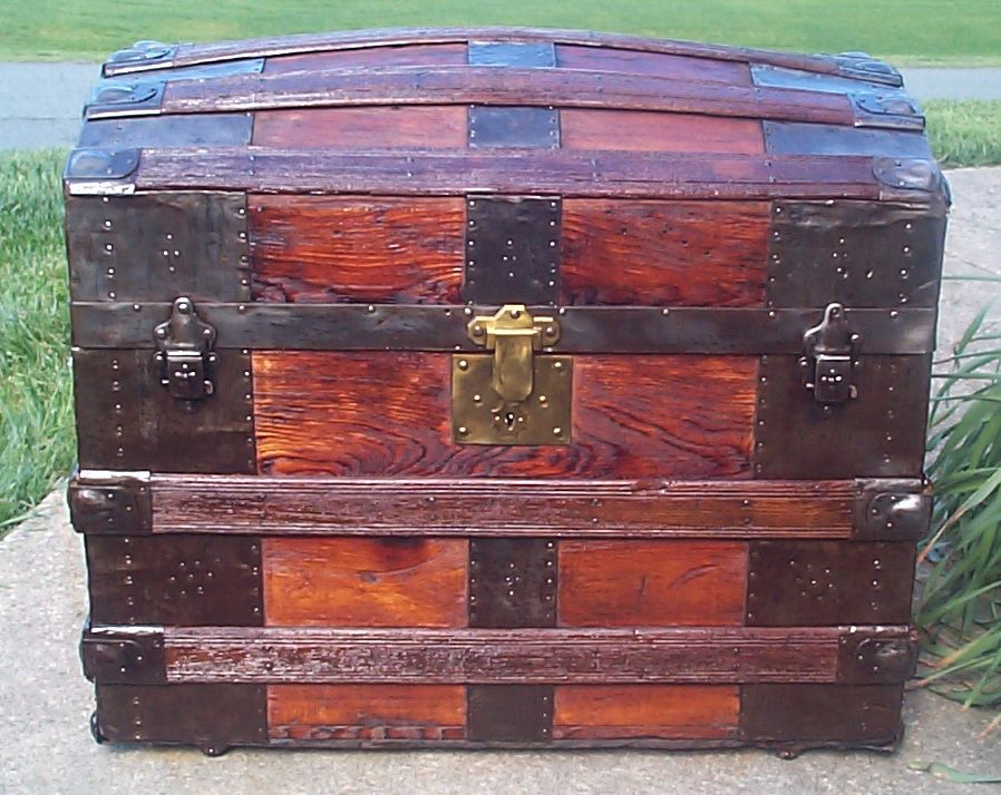 restored all wood dome top antique steamer trunk for sale 641