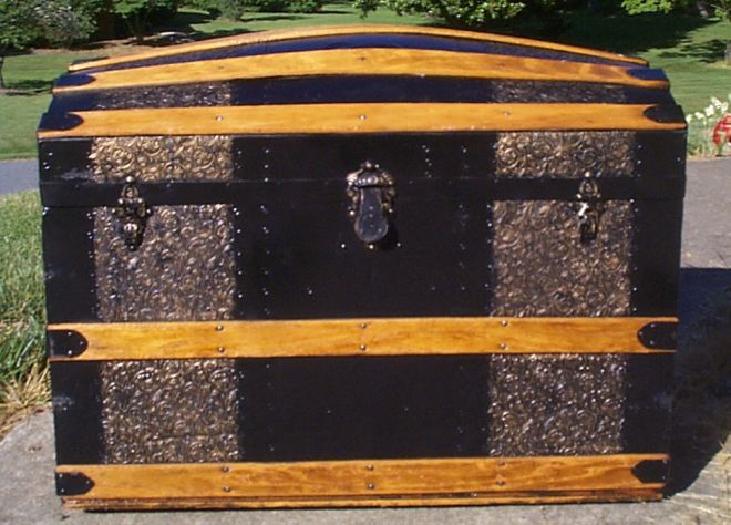 restored all wood dome top antique steamer trunk for sale 891