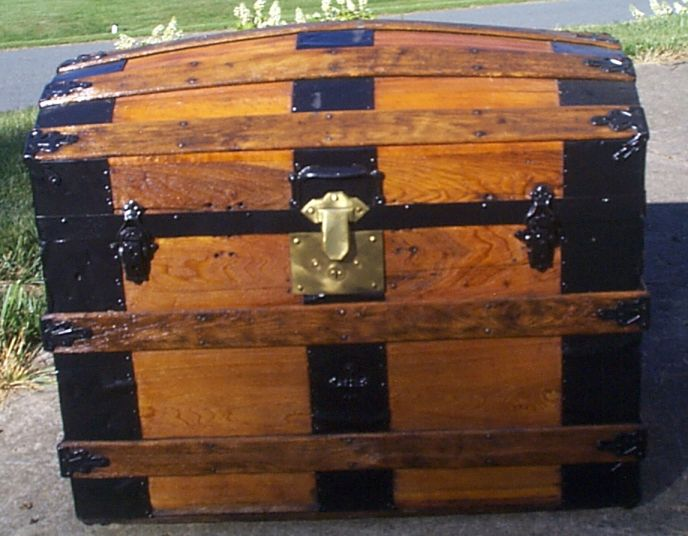 restored all wood dome top antique steamer trunk for sale 892