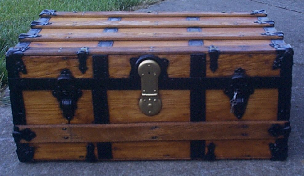 restored all wood flat top antique steamer trunk for sale 893