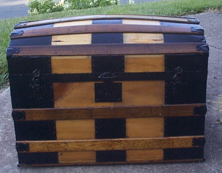 restored all wood dome top antique steamer trunk for sale 894