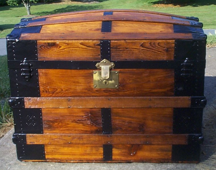 restored all wood dome top antique steamer trunk for sale 895