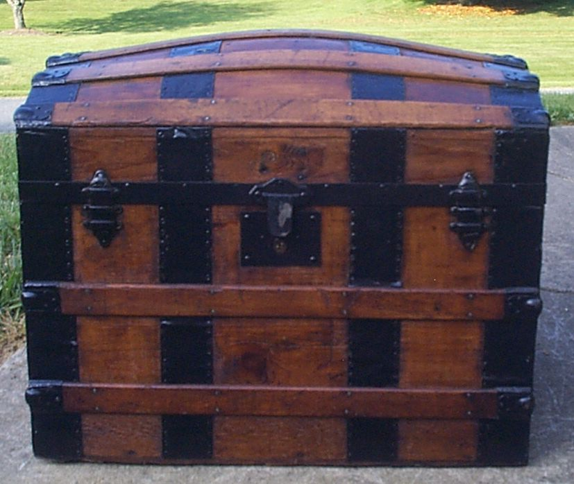 restored all wood dome top antique steamer trunk for sale 896
