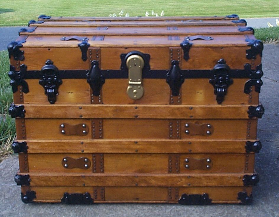 restored all wood dome top antique steamer trunk for sale 897