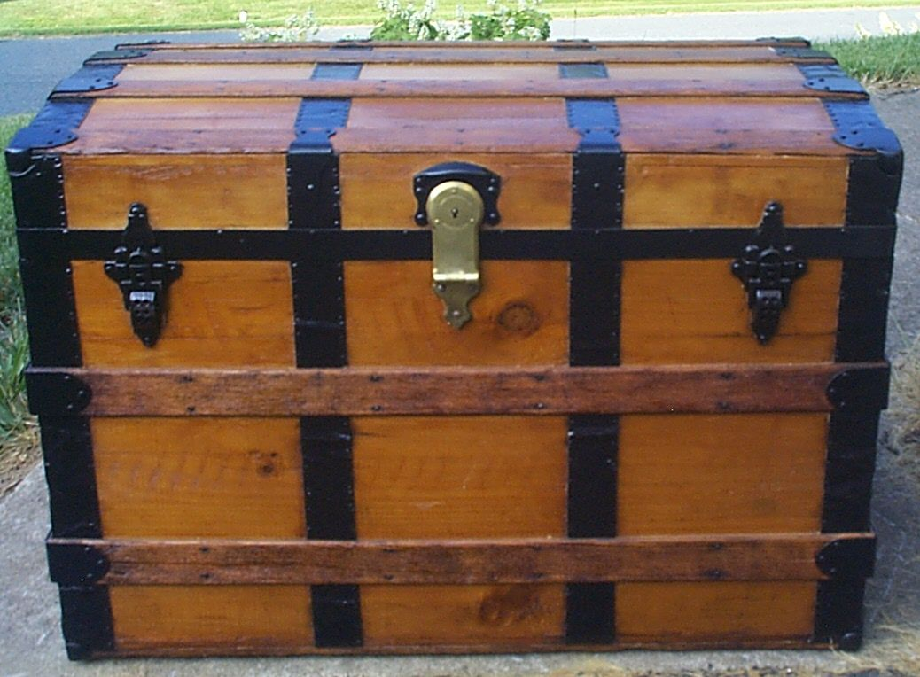 restored all wood dome top antique steamer trunk for sale 898