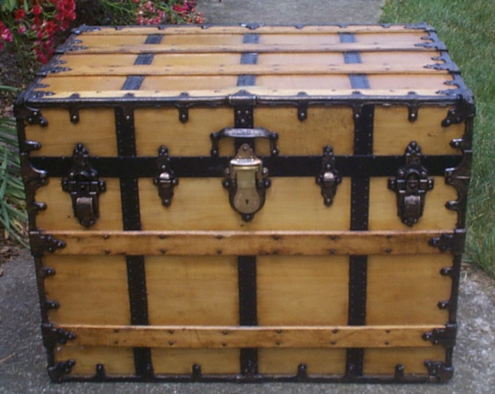 restored all wood flat top antique steamer trunk for sale 899