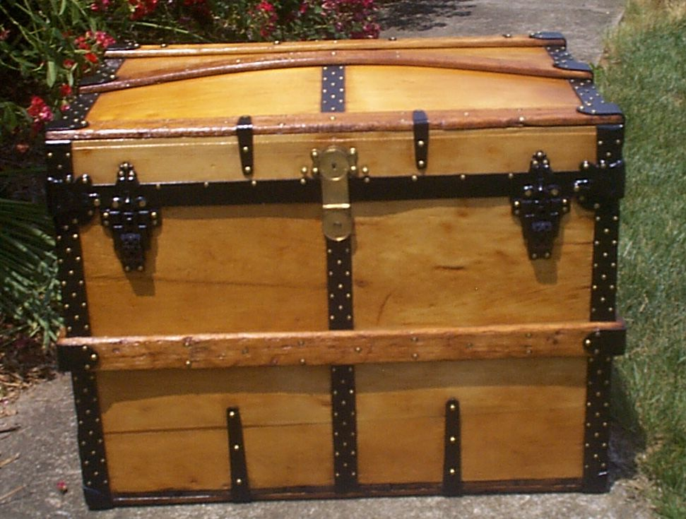 restored all wood dome top antique steamer trunk for sale 900