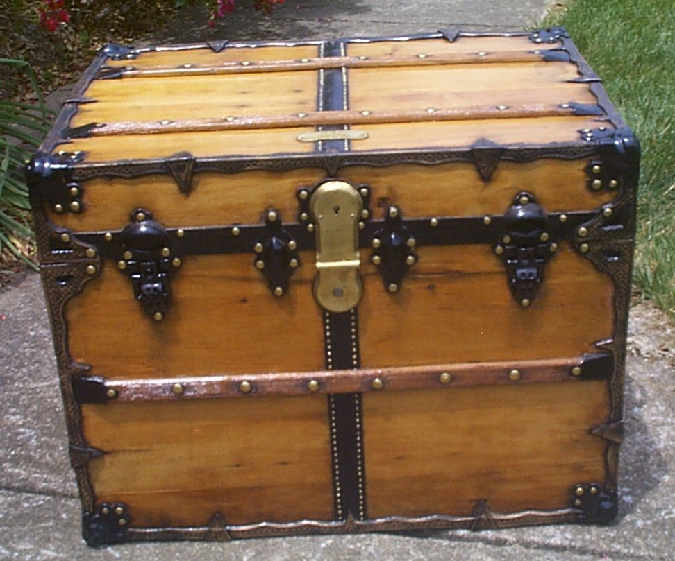 restored all wood flat top antique steamer trunk for sale 901