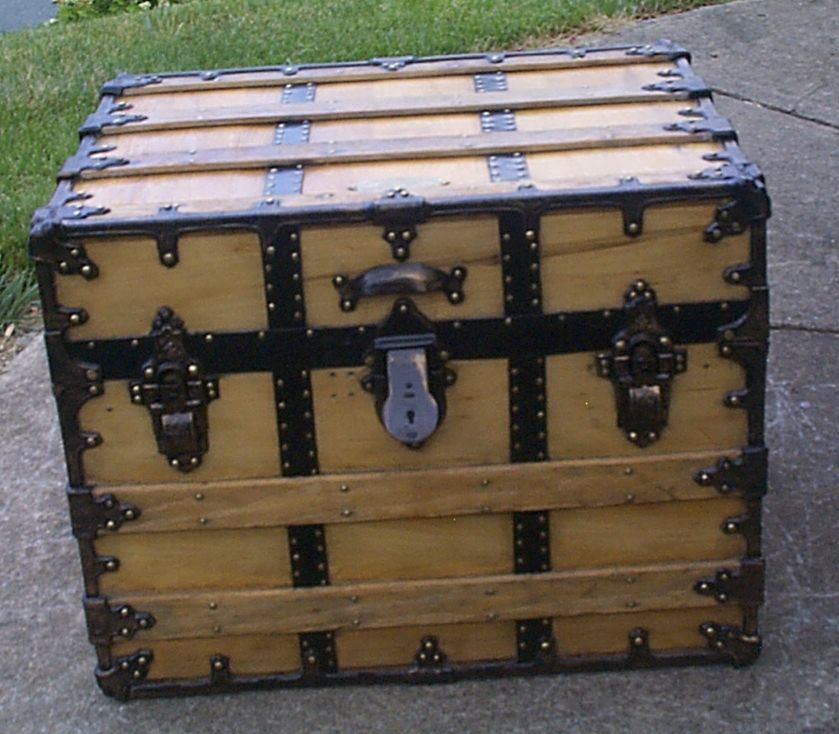 restored all wood flat top antique steamer trunk for sale 903