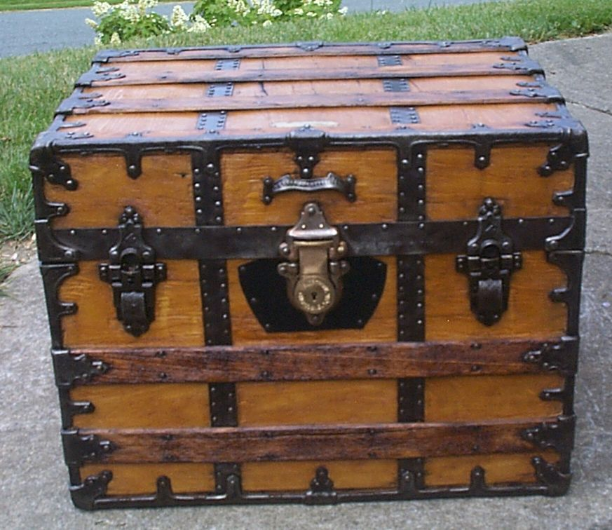 restored all wood flat top antique steamer trunk for sale 905